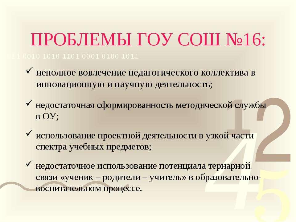 ПРОБЛЕМЫ ГОУ СОШ №16: неполное вовлечение педагогического коллектива в иннова...