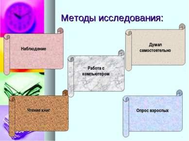 Методы исследования: Наблюдение Думал самостоятельно Опрос взрослых Чтение кн...