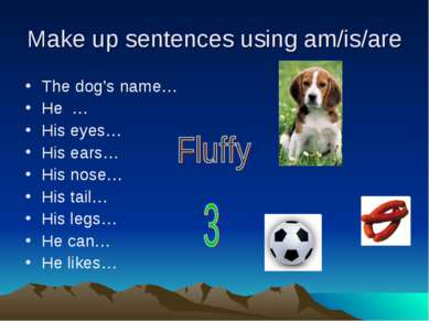 Make up sentences using am/is/are The dog's name… He … His eyes… His ears… Hi...