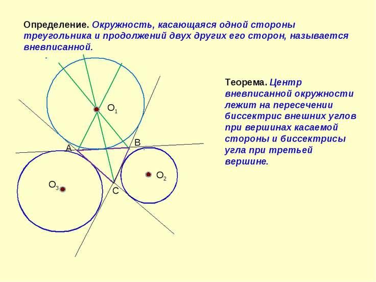 А В С О1 О2 О3 Определение. Окружность, касающаяся одной стороны треугольника...