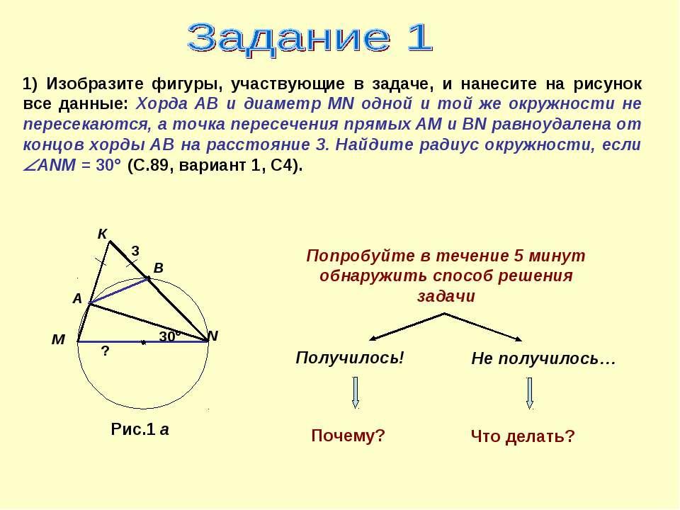 1) Изобразите фигуры, участвующие в задаче, и нанесите на рисунок все данные:...
