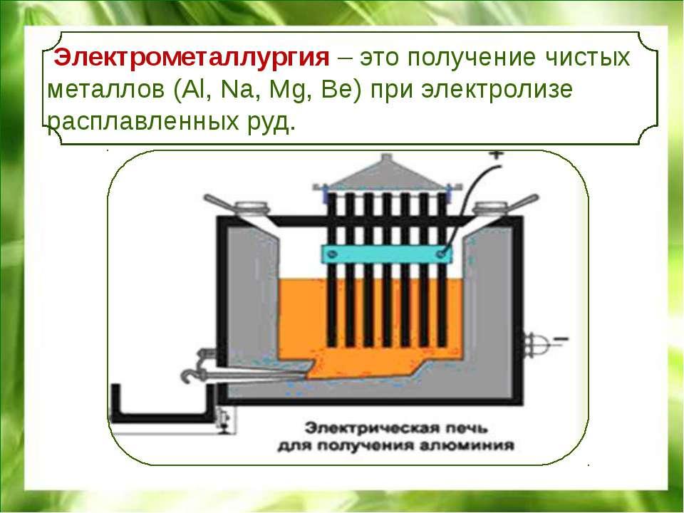 Электрометаллургия – это получение чистых металлов (Al, Na, Mg, Be) при элект...