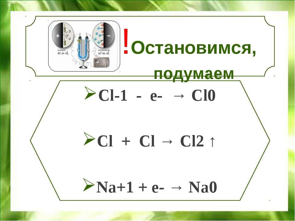 !Остановимся, подумаем Cl-1 - e- → Cl0 Cl + Cl → Cl2 ↑ Na+1 + e- → Na0 МОУ со...