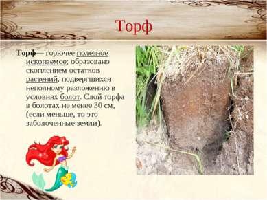 Торф Торф— горючее полезное ископаемое; образовано скоплением остатков растен...