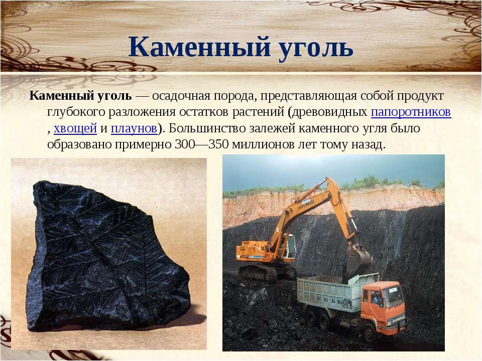 Каменный уголь Каменный уголь— осадочная порода, представляющая собой продук...