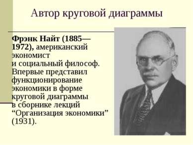 Автор круговой диаграммы Фрэнк Найт (1885—1972), американский экономист и соц...