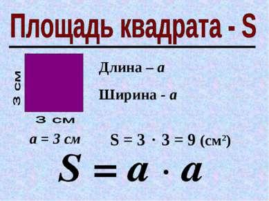 Длина – а Ширина - а а = 3 см S = 3 3 = 9 (см2)
