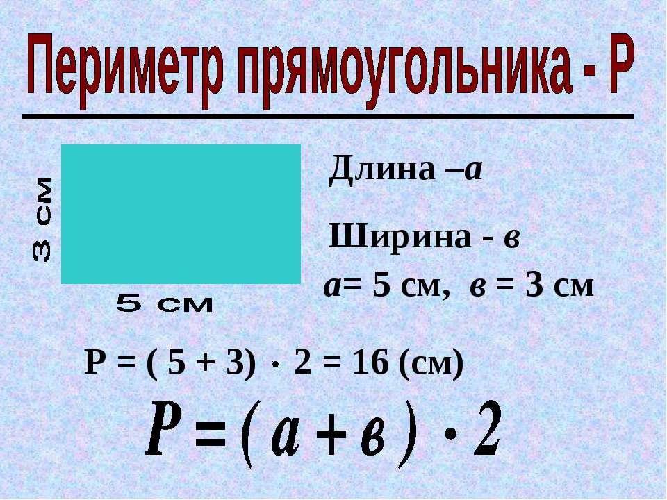 Длина –а Ширина - в а= 5 см, в = 3 см Р = ( 5 + 3) 2 = 16 (см)