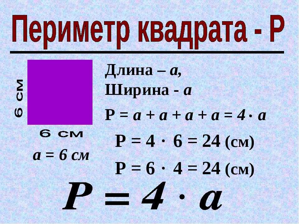 Длина – а, Ширина - а а = 6 см Р = 6 4 = 24 (см) Р = а + а + а + а = 4 а Р = ...