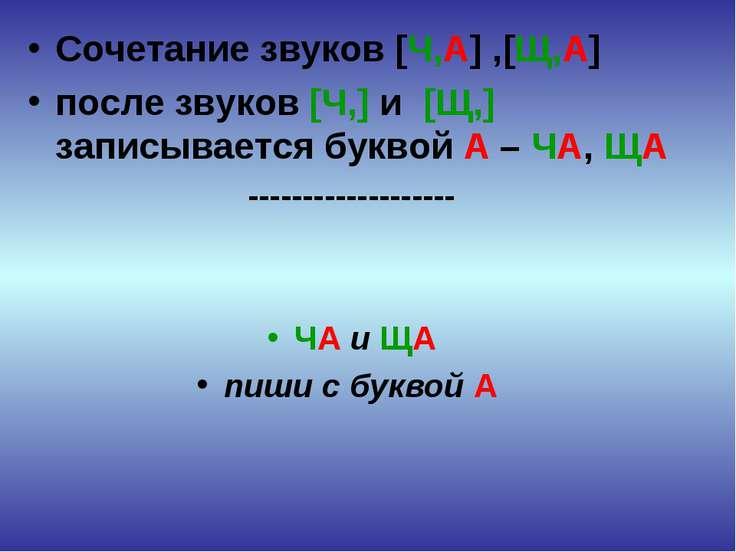 Сочетание звуков [Ч,А] ,[Щ,А] после звуков [Ч,] и [Щ,] записывается буквой А ...