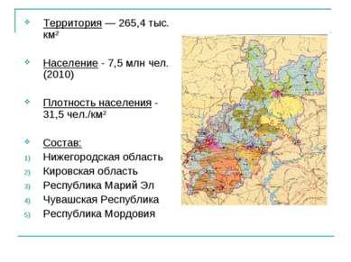 Территория — 265,4 тыс. км² Население - 7,5 млн чел. (2010) Плотность населен...