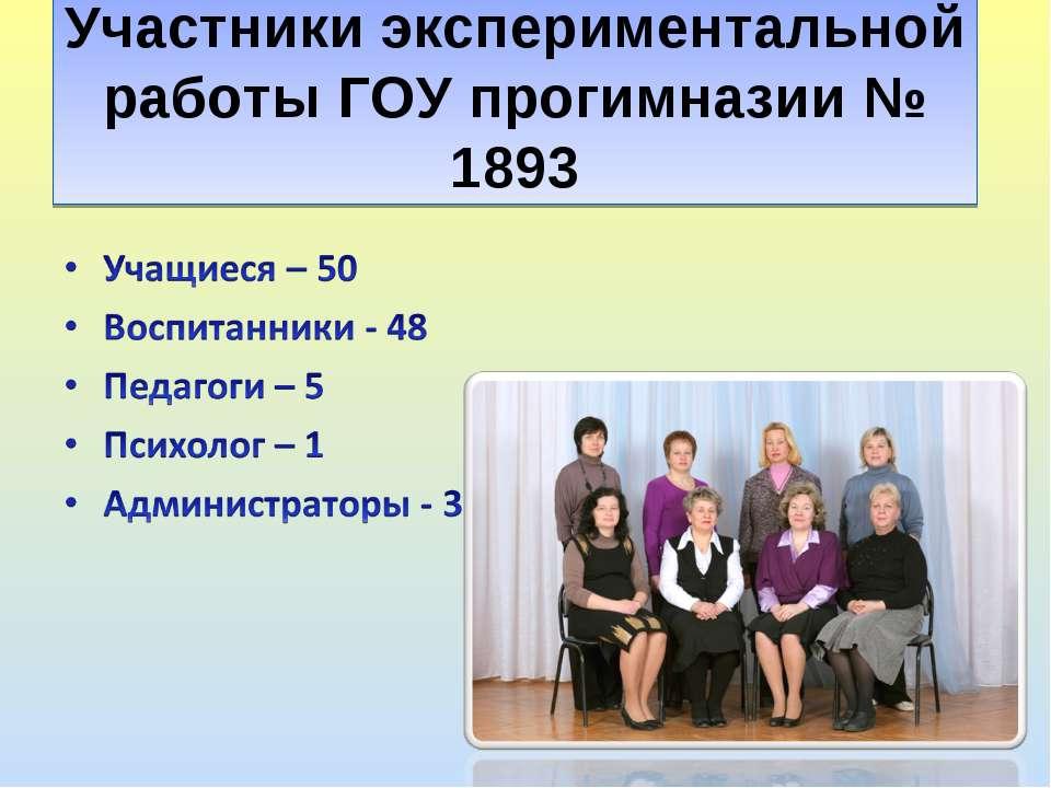 Участники экспериментальной работы ГОУ прогимназии № 1893