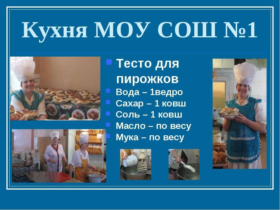 Кухня МОУ СОШ №1 Тесто для пирожков Вода – 1ведро Сахар – 1 ковш Соль – 1 ков...