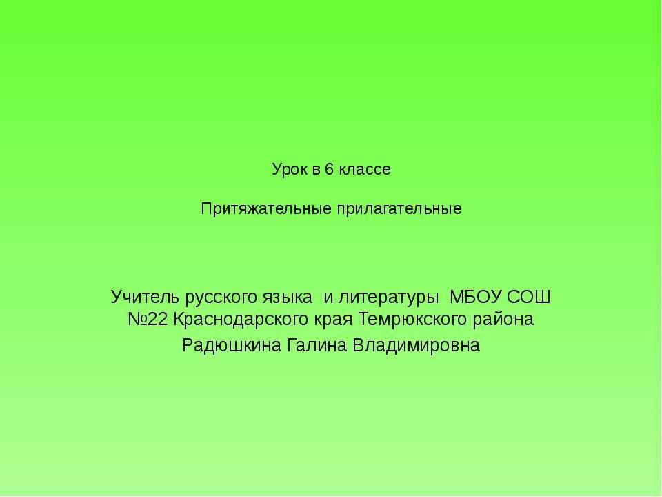 Урок в 6 классе Притяжательные прилагательные Учитель русского языка и литера...