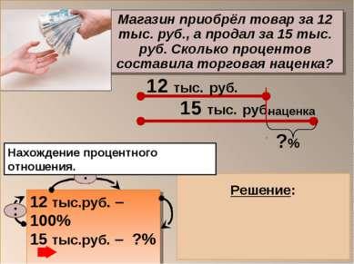 Магазин приобрёл товар за 12 тыс. руб., а продал за 15 тыс. руб. Сколько проц...