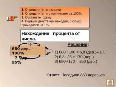 1. Определите тип задачи. 2. Определите, что принимаем за 100%. 3. Составьте ...