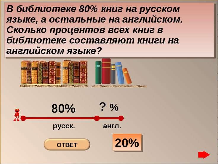 20% В библиотеке 80% книг на русском языке, а остальные на английском. Скольк...