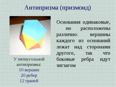 Антипризма (призмоид) Основания одинаковые, но расположены различно: вершины ...
