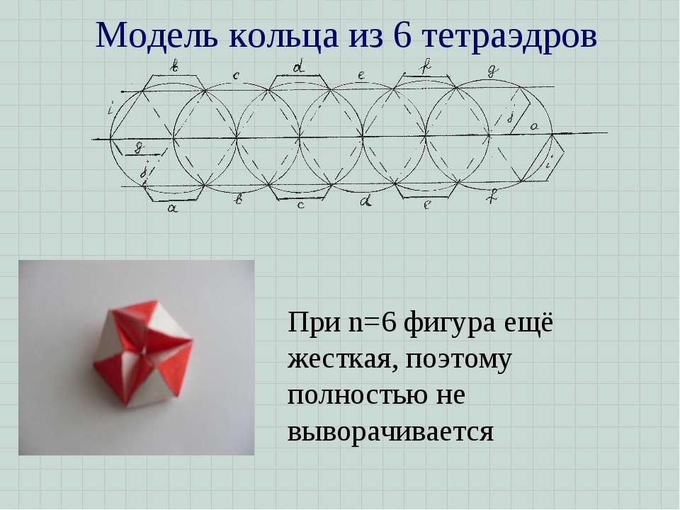 Модель кольца из 6 тетраэдров При n=6 фигура ещё жесткая, поэтому полностью н...