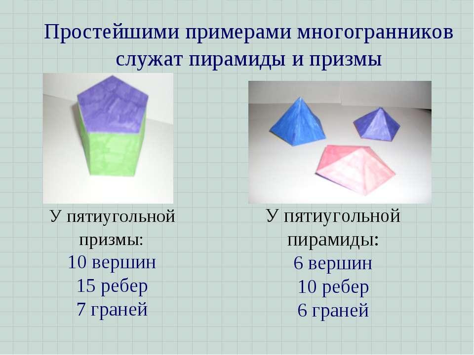 Простейшими примерами многогранников служат пирамиды и призмы У пятиугольной ...