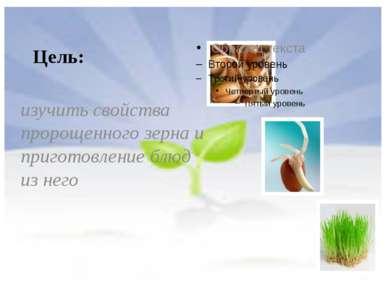 Цель: изучить свойства пророщенного зерна и приготовление блюд из него