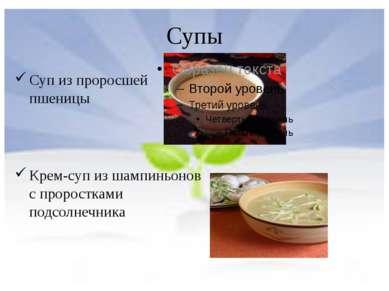 Супы Суп из проросшей пшеницы Крем-суп из шампиньонов с проростками подсолнеч...