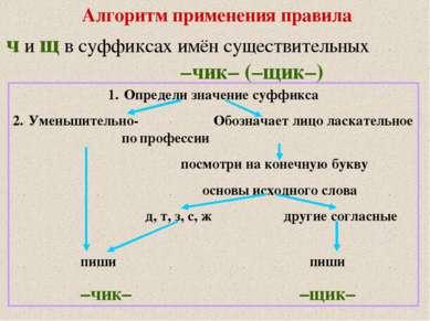 Алгоритм применения правила ч и щ в суффиксах имён существительных –чик– (–щи...