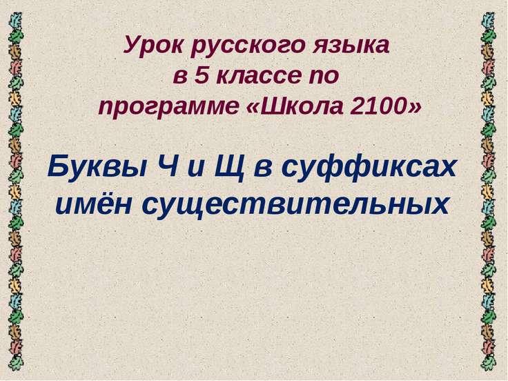 Урок русского языка в 5 классе по программе «Школа 2100» Буквы Ч и Щ в суффик...