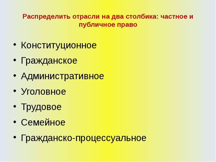Распределить отрасли на два столбика: частное и публичное право Конституционн...