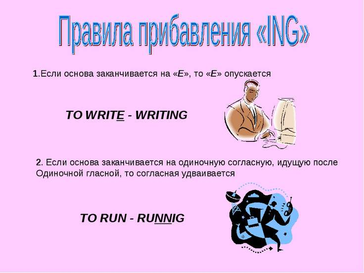 1.Если основа заканчивается на «E», то «E» опускается TO WRITE - WRITING 2. Е...