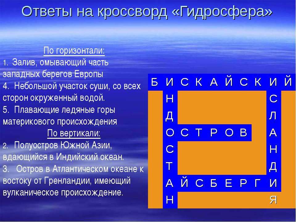 Ответы на кроссворд «Гидросфера» По горизонтали: 1. Залив, омывающий часть за...