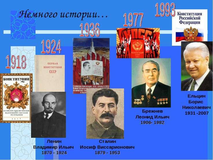 Ленин Владимир Ильич 1870 - 1924 Сталин Иосиф Виссарионович 1879 - 1953 Брежн...