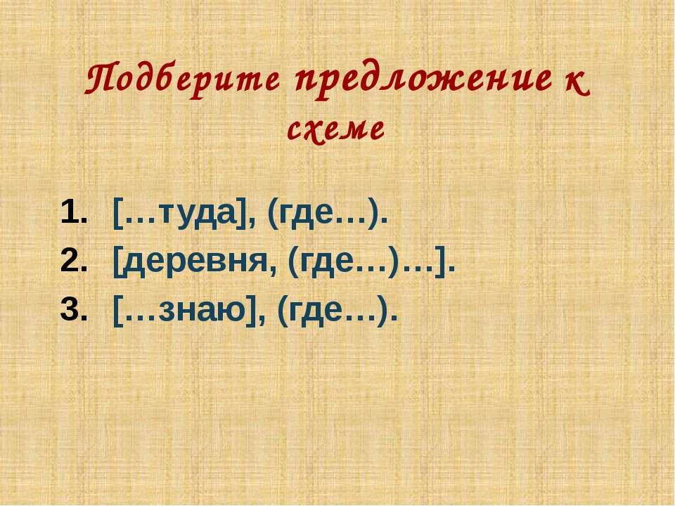 Подберите предложение к схеме […туда], (где…). [деревня, (где…)…]. […знаю], (...