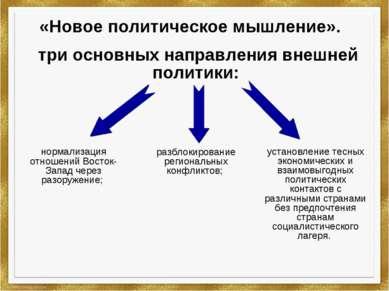 «Новое политическое мышление». три основных направления внешней политики: уст...