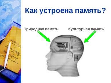 Как устроена память? Природная память Культурная память