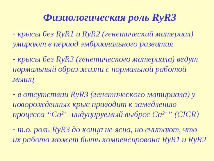 Физиологическая роль RyR3 крысы без RyR1 и RyR2 (генетический материал) умира...