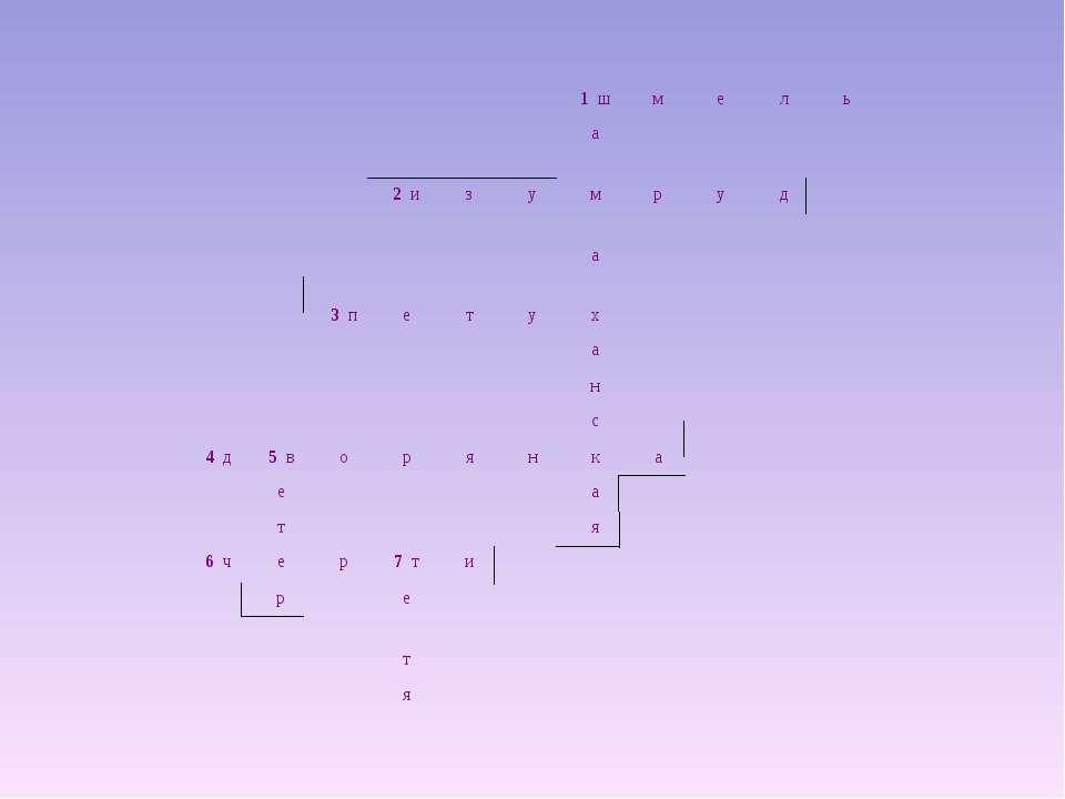 1 ш м е л ь а 2 и з у м р у д а 3 п е т у х а н с 4 д 5 в о р я н к а е а т я...