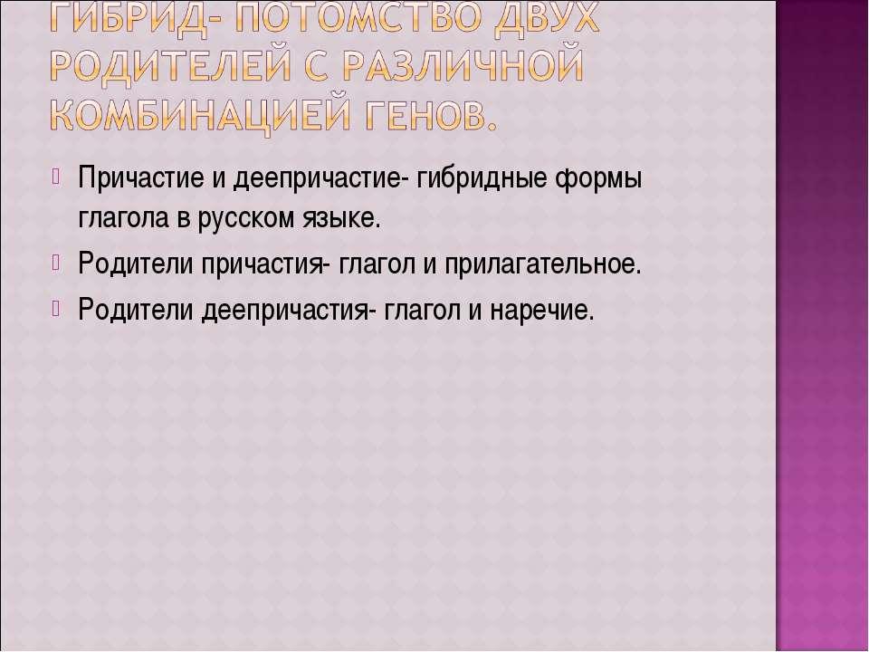 Причастие и деепричастие- гибридные формы глагола в русском языке. Родители п...