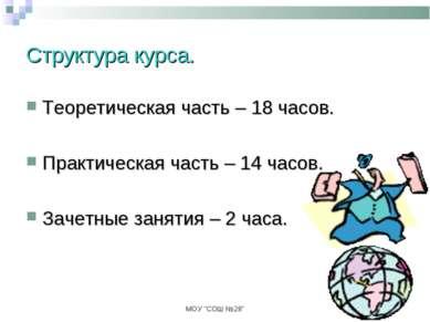 """МОУ """"СОШ №28"""" Структура курса. Теоретическая часть – 18 часов. Практическая ч..."""