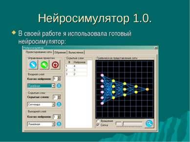 Нейросимулятор 1.0. В своей работе я использовала готовый нейросимулятор:
