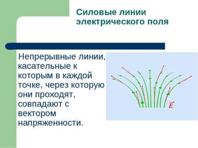 Силовые линии электрического поля Непрерывные линии, касательные к которым в ...