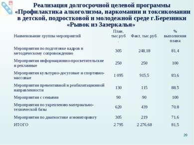 Реализация долгосрочной целевой программы «Профилактика алкоголизма, наркоман...