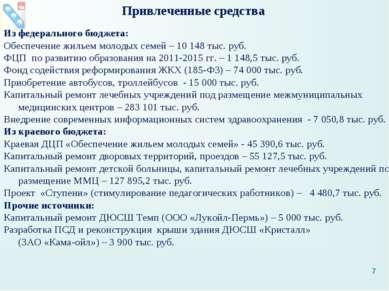 Привлеченные средства Из федерального бюджета: Обеспечение жильем молодых сем...