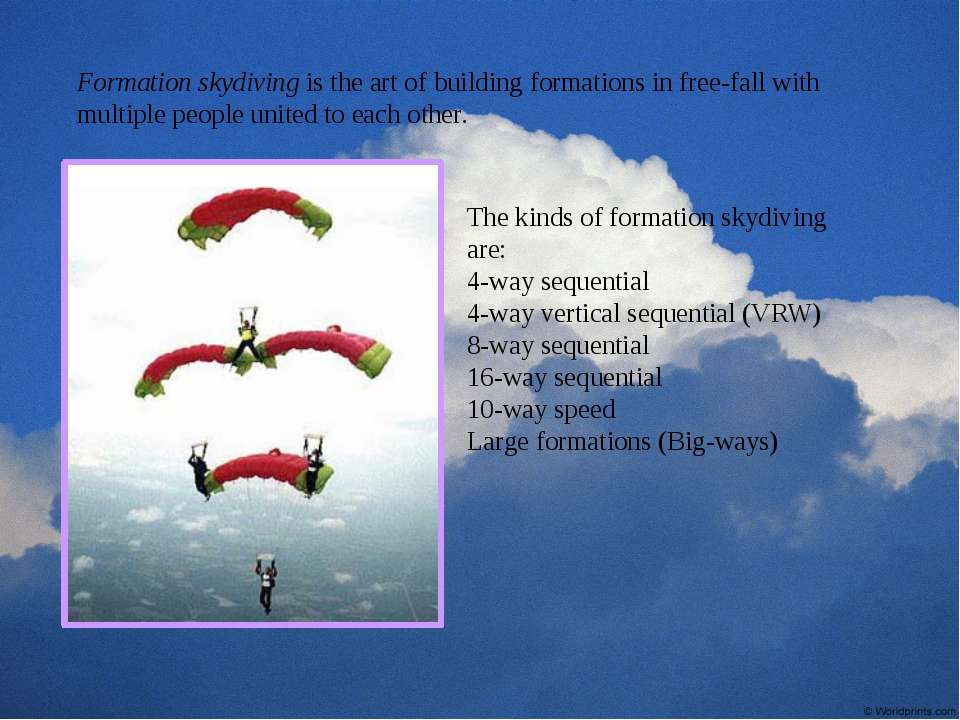 Formation skydiving is the art of building formations in free-fall with multi...