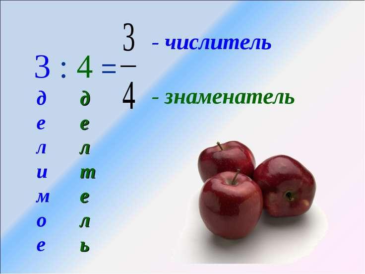 3 : 4 = - числитель - знаменатель делимое делтель