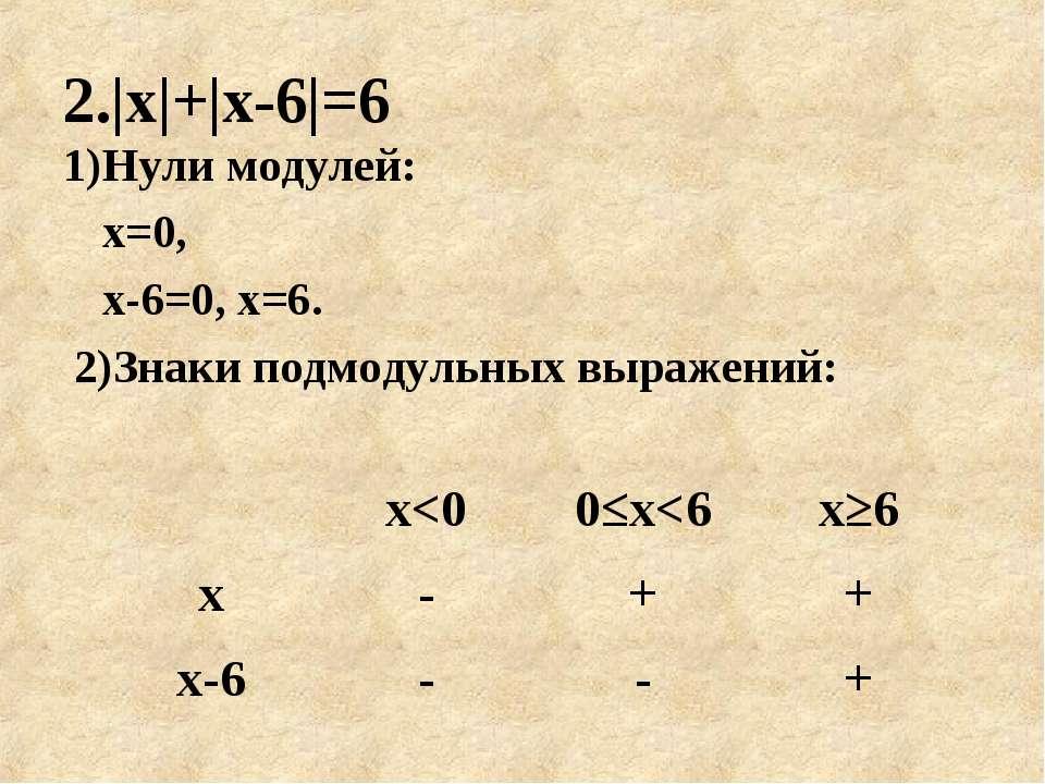 2.|х|+|х-6|=6 1)Нули модулей: х=0, х-6=0, х=6. 2)Знаки подмодульных выражений: х