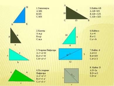 1.Гипотенуза МК КN MN 5.Найти АВ АВ=325 АВ=√125 АВ=√325 2.Катеты m,p n,p m,n ...