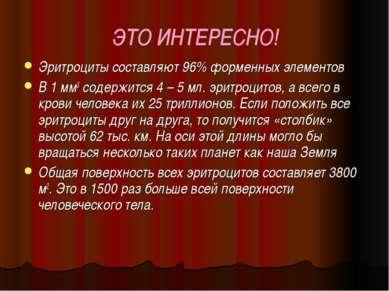 ЭТО ИНТЕРЕСНО! Эритроциты составляют 96% форменных элементов В 1 мм3 содержит...