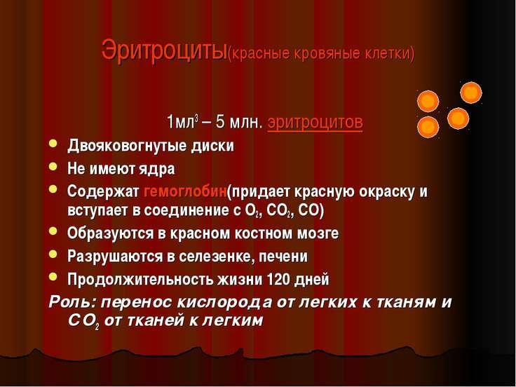 Эритроциты(красные кровяные клетки) 1мл3 – 5 млн. эритроцитов Двояковогнутые ...