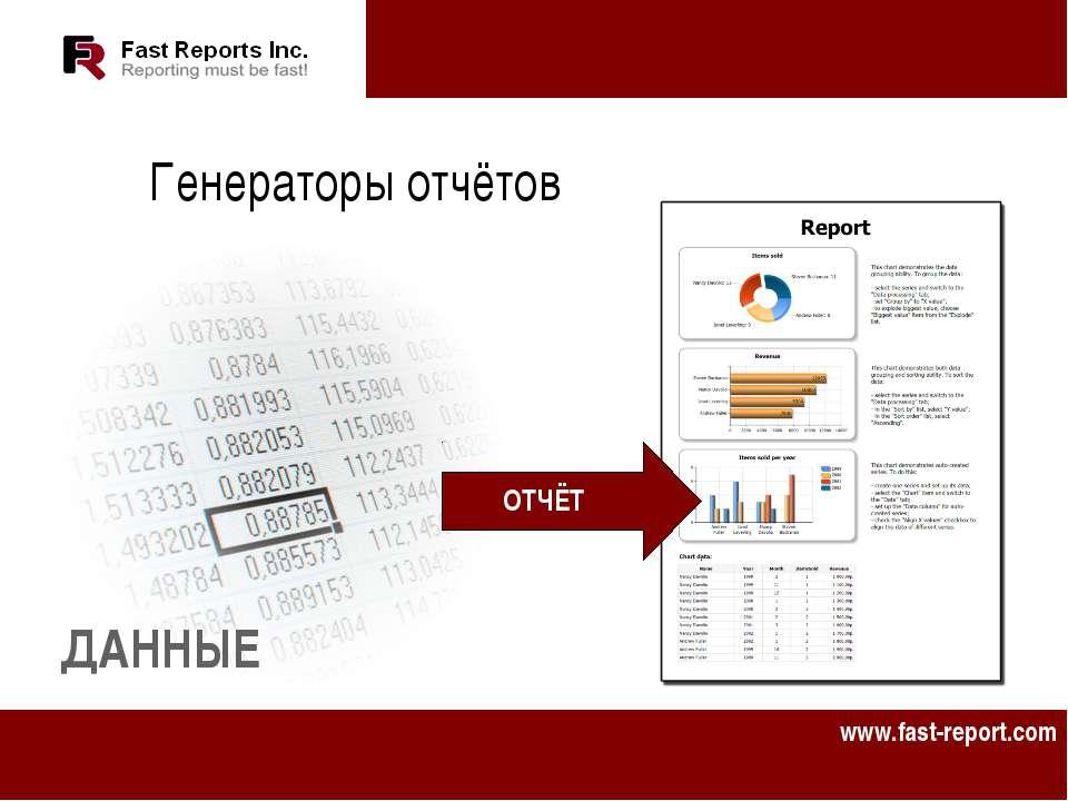 Генераторы отчётов ДАННЫЕ ОТЧЁТ